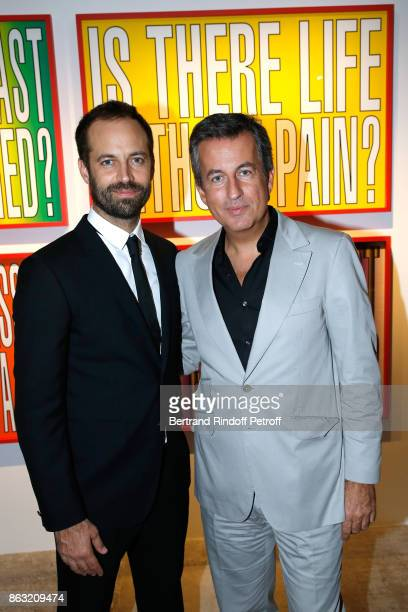 Benjamin Millepied and Cyril Karaoglan attend the Art Exhibition Reflexion Redux of Benjamin Millepied and Barbara Kruger at Studio des Acacias on...