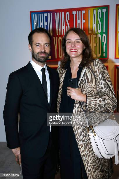 Benjamin Millepied and International Communications Director at Van Cleef Arpels Sibylle Jammes attend the Art Exhibition Reflexion Redux of Benjamin...