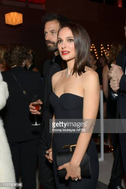 Benjamin Millepied and Natalie Portman attend the 2019 Vanity Fair Oscar Party hosted by Radhika Jones at Wallis Annenberg Center for the Performing...