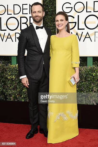 Benjamin Millepied and Natalie Portman attend the 74th Annual Golden Globe Awards Arrivals at The Beverly Hilton Hotel on January 8 2017 in Beverly...