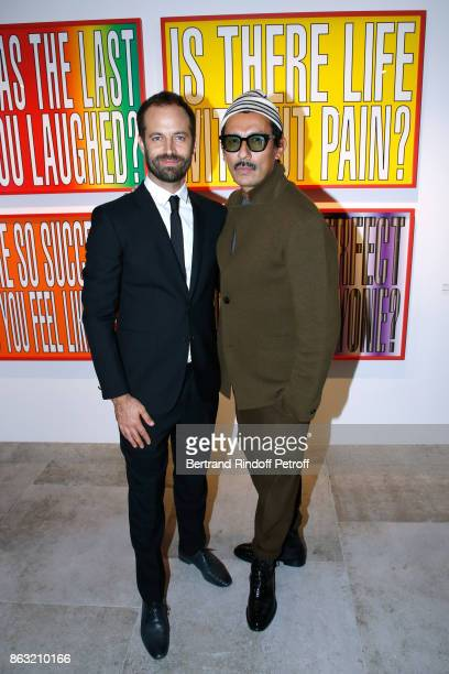 Benjamin Millepied and stylist Haider Ackermann attend the Art Exhibition Reflexion Redux of Benjamin Millepied and Barbara Kruger at Studio des...