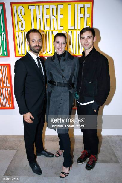 Benjamin Millepied MarieAgnes Gillot and dancer Marc Moreau attend the Art Exhibition Reflexion Redux of Benjamin Millepied and Barbara Kruger at...