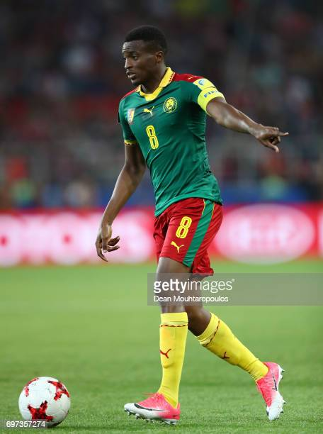 Benjamin Moukandjo of Caeroon in action during the FIFA Confederations Cup Russia 2017 Group B match between Cameroon and Chile at Spartak Stadium on...