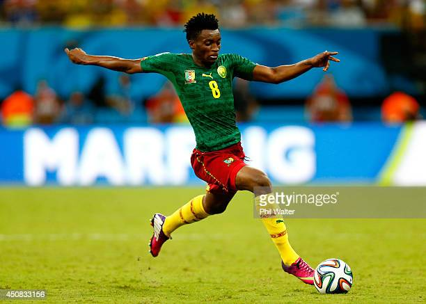 Benjamin Moukandjo of Cameroon controls the ball during the 2014 FIFA World Cup Brazil Group A match between Cameroon and Croatia at Arena Amazonia...