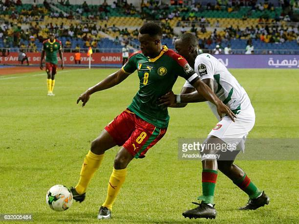 Benjamin Moukandjo of Cameroon in action during the 2017 Africa Cup of Nations group A football match between Cameroon and Guinea Bissau at the...