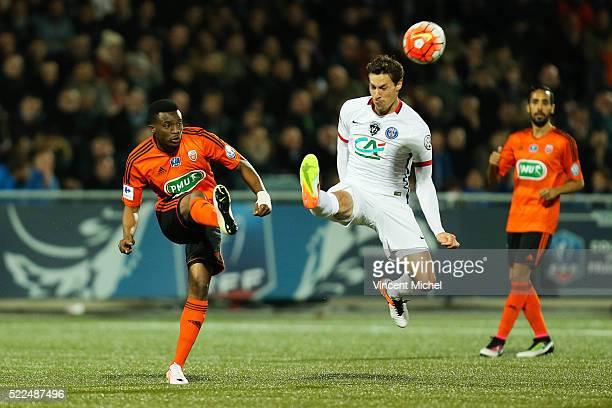 Benjamin Moukandjo of Lorient and Benjamin Stambouli of Paris Saint Germain during the semi-final French Cup between Lorient and Paris Saint-Germain...