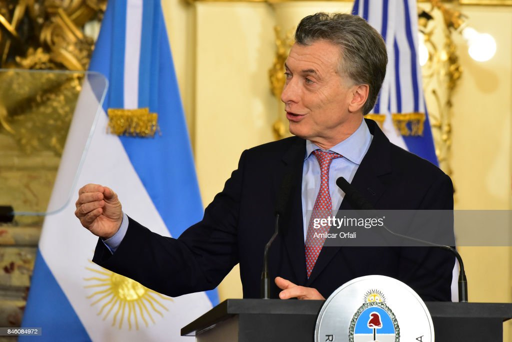 Benjamin Netanyahu and Mauricio Macri during a meeting as part of the official visit of Israeli Prime Minister Benjamin Netanyahu to Buenos Aires at Casa Rosada on September 12, 2017 in Buenos Aires, Argentina.