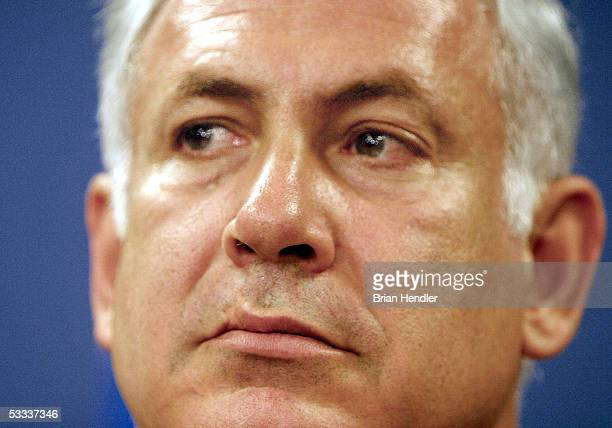 Benjamin Netanyahu gives a press conference after his resignation as Finance Minister from Israeli Prime Minister Ariel Sharon's government August 7,...