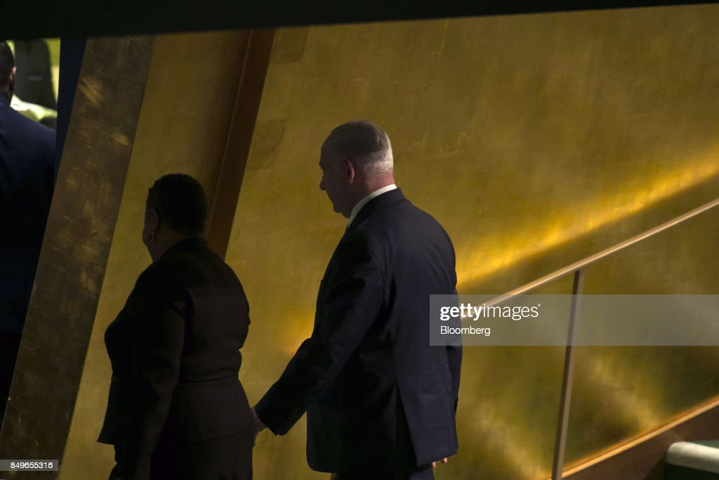 Benjamin Netanyahu, Israeli's prime minister, exits from the podium after speaking during the UN General Assembly meeting in New York, U.S., on Tuesday, Sept. 19, 2017. Those who threaten Israel will place themselves in 'mortal peril,' Netanyahusaid, noting frequent Iranian threats to destroy the Jewish state. Photographer: Caitlin Ochs/Bloomberg via Getty Images