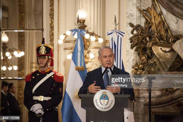 Benjamin Netanyahu Israeli's prime minister speaks during a joint press conference with Mauricio Macri Argentina's president not pictured at the...
