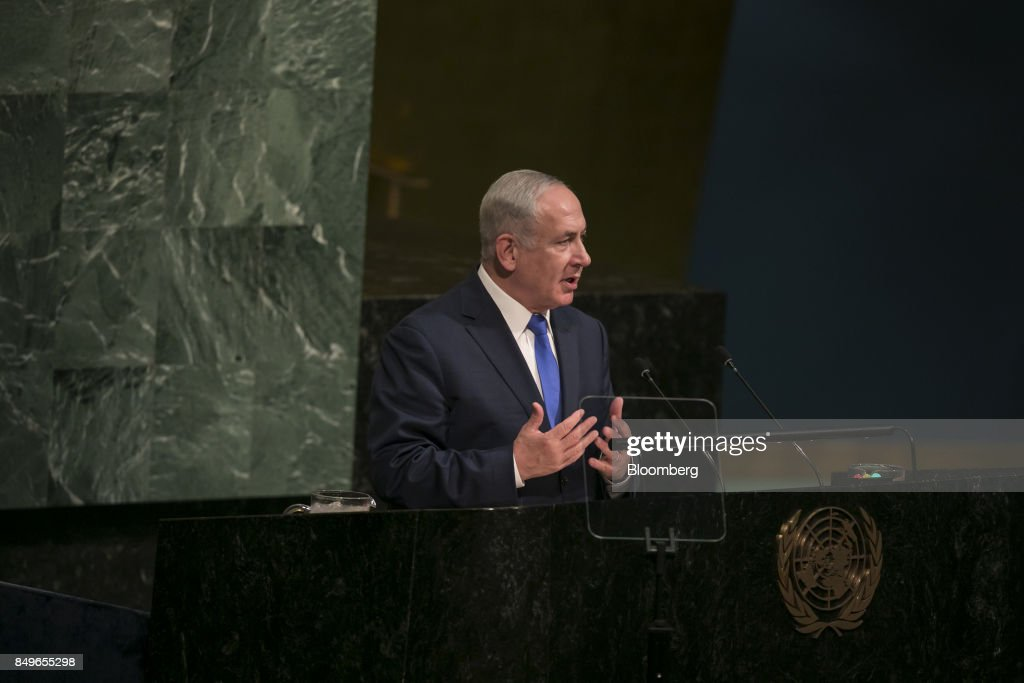 Benjamin Netanyahu, Israeli's prime minister, speaks during the UN General Assembly meeting in New York, U.S., on Tuesday, Sept. 19, 2017. Those who threaten Israel will place themselves in 'mortal peril,' Netanyahusaid, noting frequent Iranian threats to destroy the Jewish state. Photographer: Caitlin Ochs/Bloomberg via Getty Images