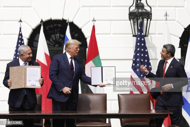 Benjamin Netanyahu Israel's prime minister from left US President Donald Trump and Sheikh Abdullah bin Zayed bin Sultan Al Nahyan United Arab...