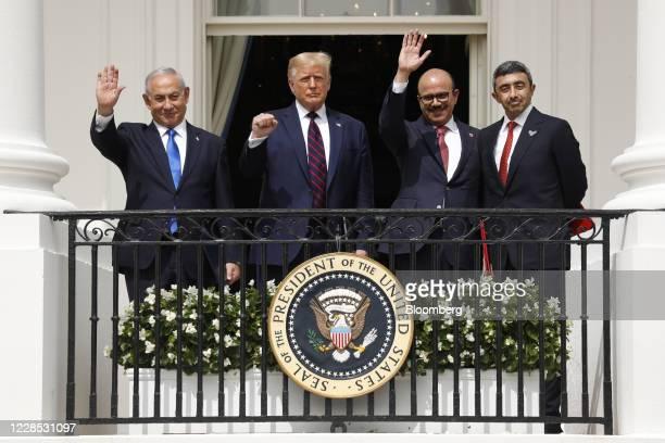 Benjamin Netanyahu Israel's prime minister from left US President Donald Trump Abdullatif bin Rashid Al Zayani Bahrain's foreign affairs minister and...