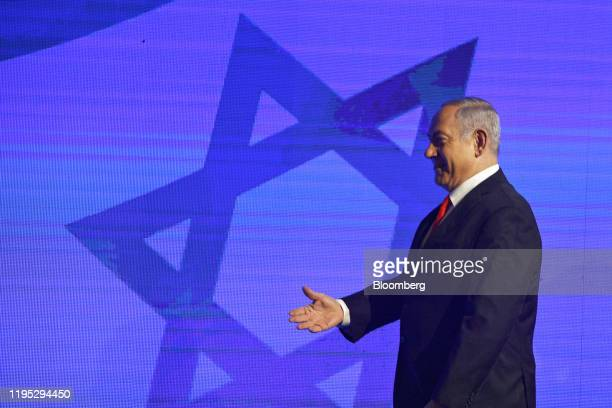 Benjamin Netanyahu Israel's prime minister gestures during a campaign rally for his Likud party in Jerusalem Israel on Tuesday Jan 21 2020 The prime...