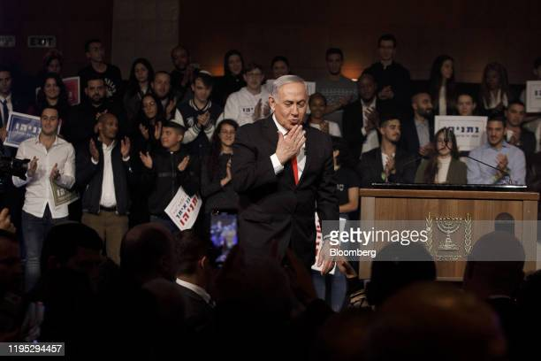 Benjamin Netanyahu Israel's prime minister gestures whiles speaking at a campaign rally for his Likud party in Jerusalem Israel on Tuesday Jan 21...