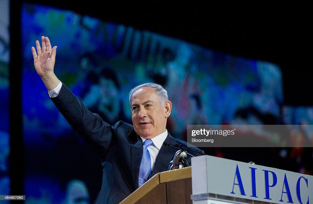Israeli Prime Minister Benjamin Netanyahu Addresses AIPAC Policy Conference : News Photo