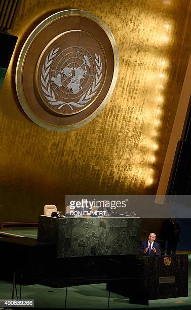 Benjamin Netanyahu Prime Minister of Israel addresses the 70th session of the United Nations General Assembly October 1 2015 at the United Nations in...