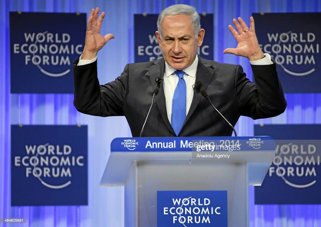 Benjamin Netanyahu, Prime Minister of Israel gestures during the plenary session 'Israel's Economic and Political Outlook' at the Annual Meeting 2014 of the World Economic Forum at the Congress Centre in Davos, Switzerland on January 23, 2014.