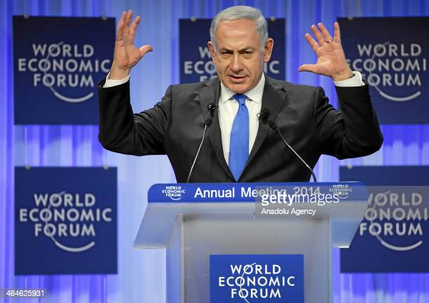 Benjamin Netanyahu Prime Minister of Israel gestures during the plenary session 'Israel's Economic and Political Outlook' at the Annual Meeting 2014...