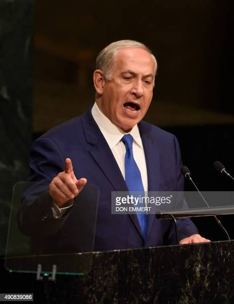 Benjamin Netanyahu Prime Minister of the State of Israel addresses the 70th session of the United Nations General Assembly October 1 2015 at the...