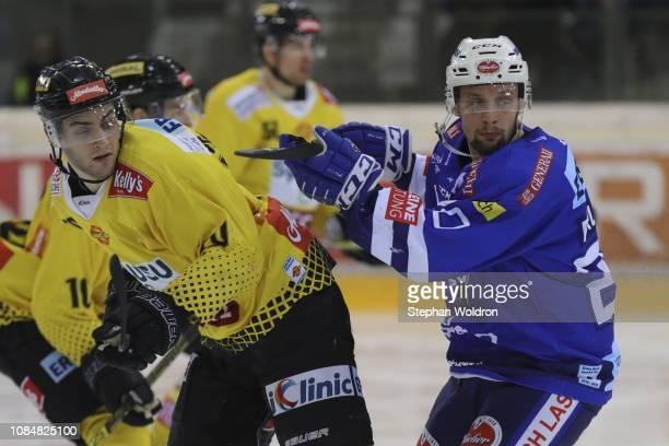 Benjamin Nissner of Vienna and Nico Brunner of Villach during the Vienna Capitals v EC VSV Erste Bank Eishockey Liga at Erste Bank Arena on January...