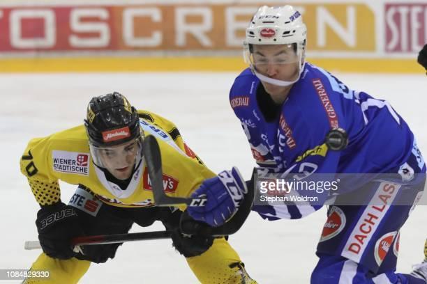 Benjamin Nissner of Vienna and Patrick Stueckler of Villach during the Vienna Capitals v EC VSV Erste Bank Eishockey Liga at Erste Bank Arena on...