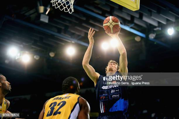 Benjamin Ortner of Germani competes with Trevor Mbakwe of Fiat during the LBA LegabLasket match ifinal of Coppa Italia between Auxilium Fiat Torino...