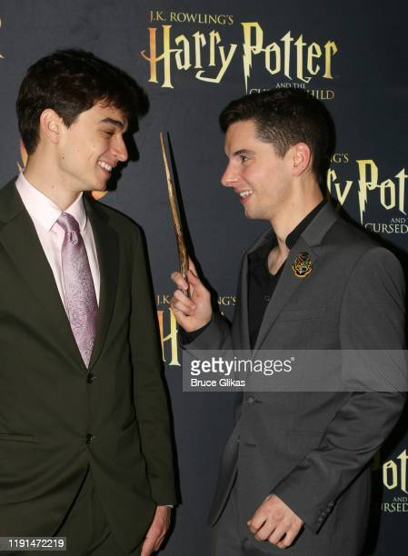 Benjamin Papac and Jon Steiger pose at the opening night after arty for Harry Potter and The Cursed Child Parts One 2 at August Hall on December 1...