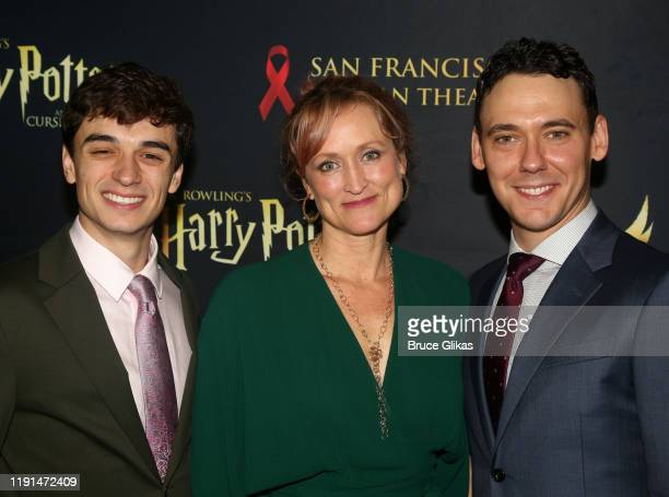 Benjamin Papac Angela Reed and John Skelley pose at the opening night after party for Harry Potter and The Cursed Child Parts One 2 at August Hall on...