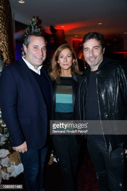 Benjamin Patou Anne Gravoin and Richard Orlinski attend the Inauguration of the 'Chalet Les Neiges Courchevel' on the terrace of the Hotel 'Barriere...