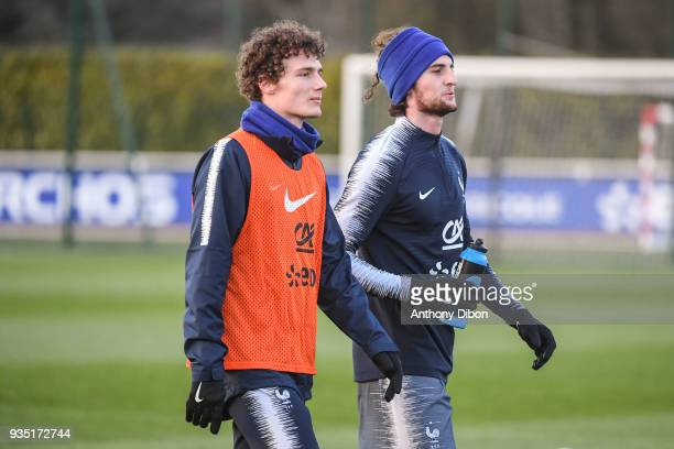 Benjamin Pavard and Adrien Rabiot of France during training session at Centre National du Football on March 20 2018 in Clairefontaine en Yvelines...