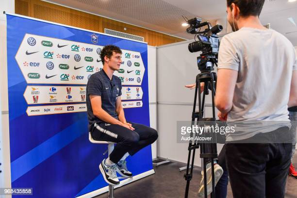 Benjamin Pavard during the Press Conference of French Football Team on June 6 2018 in Paris France