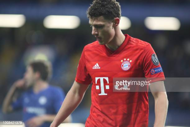 Benjamin Pavard looks on during the 2019/20 UEFA Champions League 1/8 playoff finale game between Chelsea FC and Bayern Munich at Stamford Bridge.