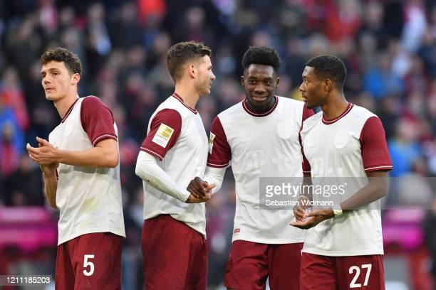 Benjamin Pavard Lucas Hernandez Alphonso Davies and David Alaba of Bayern Muenchen celebrate after the Bundesliga match between FC Bayern Muenchen...