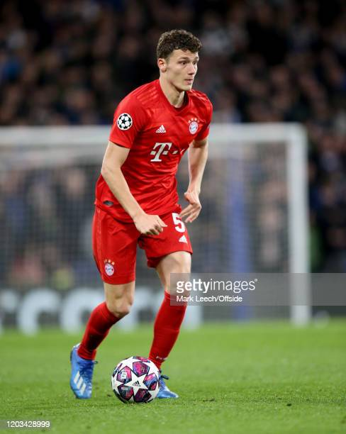 Benjamin Pavard of Bayern during the UEFA Champions League round of 16 first leg match between Chelsea FC and FC Bayern Muenchen at Stamford Bridge...