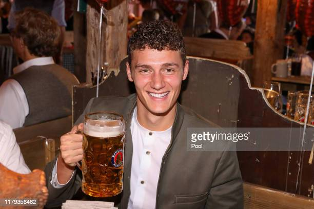 Benjamin Pavard of FC Bayern Muenchen attends the Oktoberfest at Kaefer Wiesenschaenke tent at Theresienwiese on October 06, 2019 in Munich, Germany.