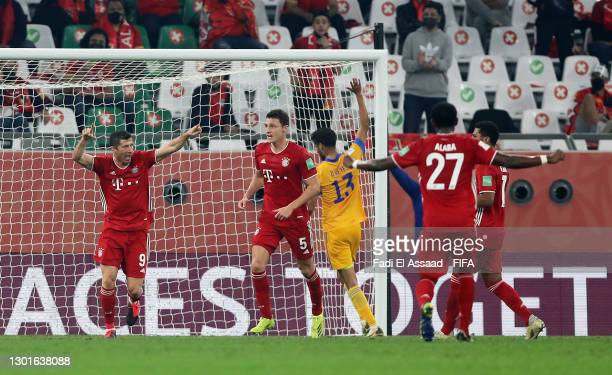 Benjamin Pavard of FC Bayern Muenchen celebrates after scoring their team's first goal during the FIFA Club World Cup Qatar 2020 Final between FC...