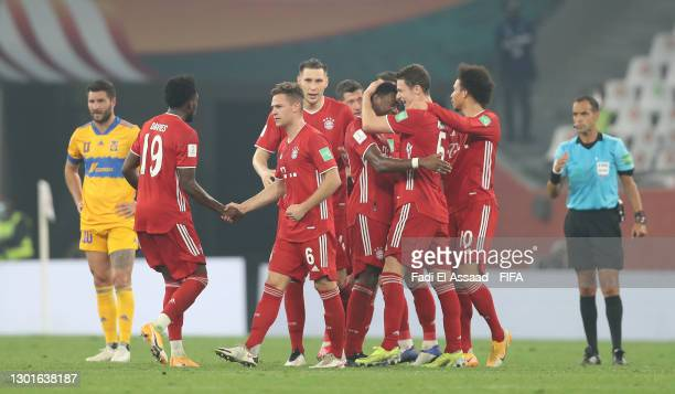 Benjamin Pavard of FC Bayern Muenchen celebrates with David Alaba and teammates after scoring their team's first goal during the FIFA Club World Cup...