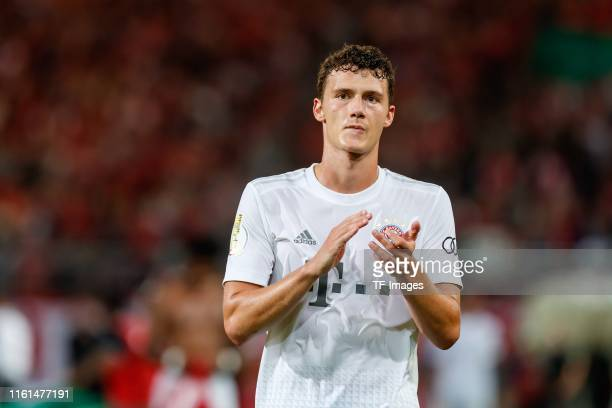 Benjamin Pavard of FC Bayern Muenchen gestures after the DFB Cup first round match between Energie Cottbus and FC Bayern Muenchen at Stadion der...