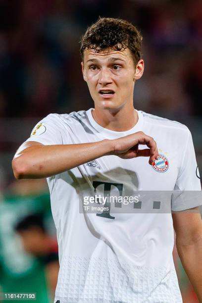 Benjamin Pavard of FC Bayern Muenchen looks on after the DFB Cup first round match between Energie Cottbus and FC Bayern Muenchen at Stadion der...