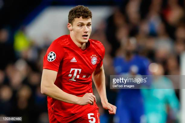Benjamin Pavard of FC Bayern Muenchen looks on during the UEFA Champions League round of 16 first leg match between Chelsea FC and FC Bayern Muenchen...