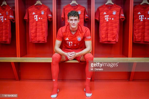 Benjamin Pavard of FC Bayern Muenchen poses in the dressing room after a press conference to announce his signing at Allianz Arena on July 12, 2019...