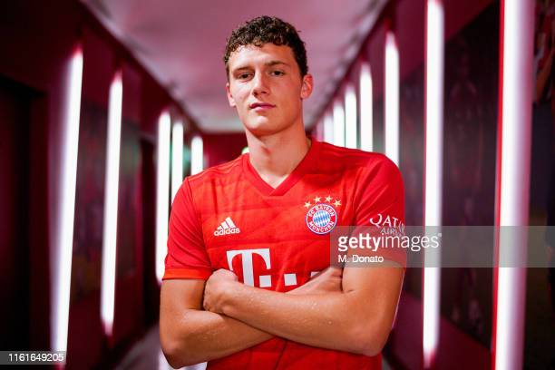 Benjamin Pavard of FC Bayern Muenchen poses in the tunnel after a press conference to announce his signing at Allianz Arena on July 12 2019 in Munich...