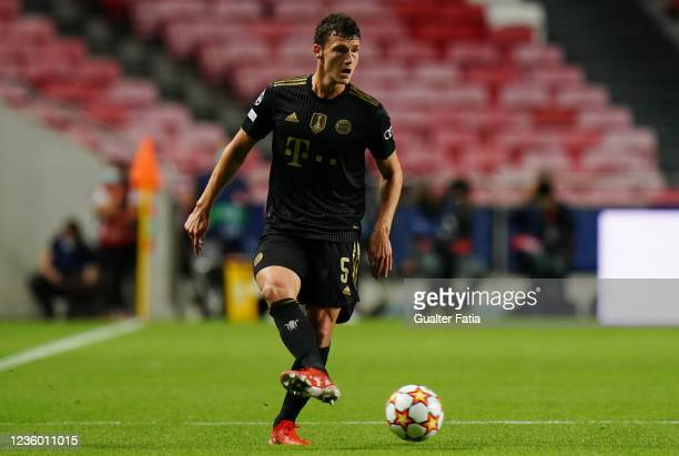 Benjamin Pavard of FC Bayern Munchen in action during the Group E - UEFA Champions League match between SL Benfica and Bayern Munchen at Estadio da...