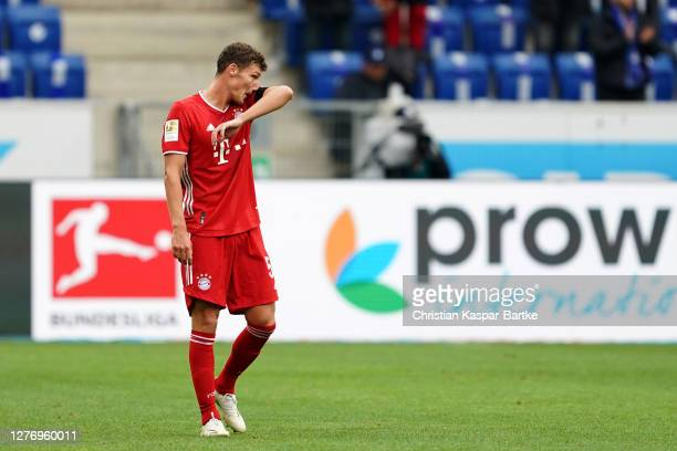 Benjamin Pavard of FC Bayern Munich looks dejected during the Bundesliga match between TSG Hoffenheim and FC Bayern Muenchen at PreZero-Arena on...