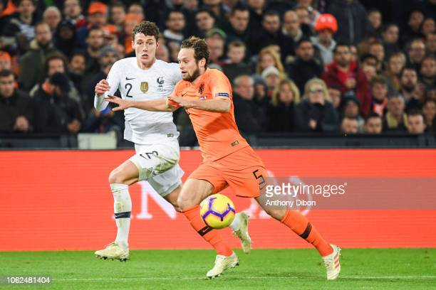 Benjamin Pavard of France and Daley Blind of Netherlands during the Nations League match between Netherlands and France at De Kuip on November 16...