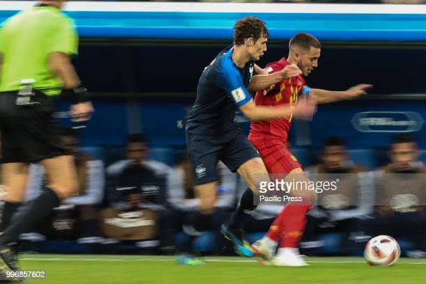 ST PETERSBURG VAZIO RUSSIA Benjamin Pavard of France and Eden Hazard of Belgium during the match between France and Belgium valid for the semi finals...
