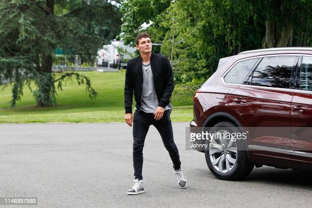 Benjamin Pavard of France arrives on May 29 2019 in Clairefontaine France