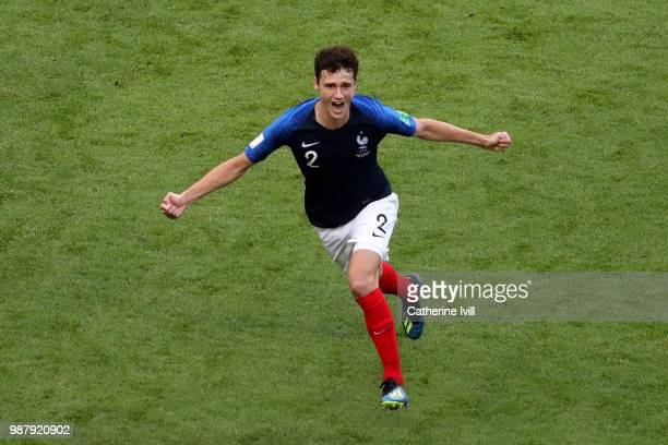 Benjamin Pavard of France celebrates after scoring his team's second goal during the 2018 FIFA World Cup Russia Round of 16 match between France and...