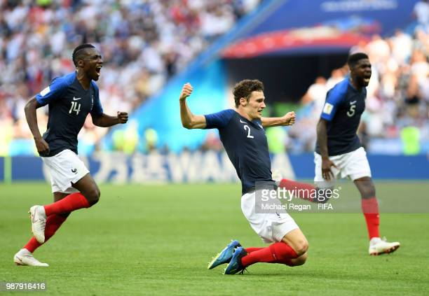 Benjamin Pavard of France celebrates with teammates after scoring his team's second goal during the 2018 FIFA World Cup Russia Round of 16 match...